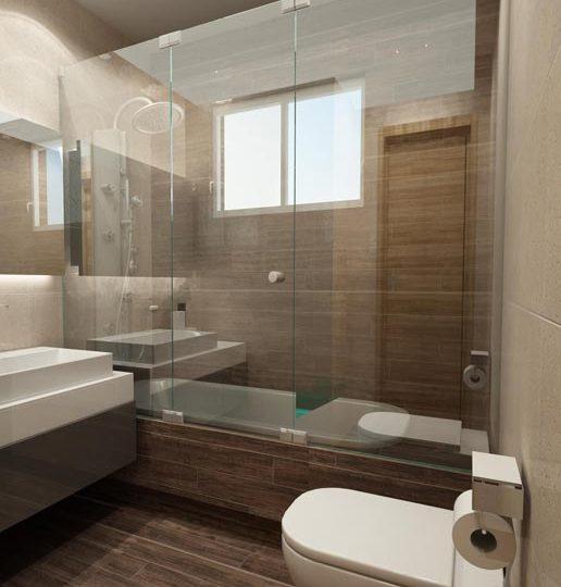 Μπάνιο με εντοιχισμένη λεκάνη και ντουζιέρα με συρόμενη κρυστάλλινη πόρτα