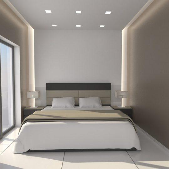 Φωτορεαλιστική απεικόνιση κρεβατοκάμαρας με κρυφό φωτισμό και μπαλκονόπορτες αλουμινίου