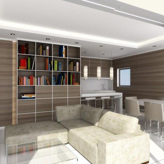 Διακόσμηση σαλονιού με ξύλινη βιβλιοθήκη και κρυφό φωτισμό