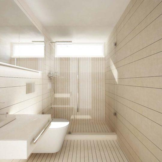 Φωτορεαλιστική απεικόνιση μοντέρνου μπάνιου με εντοιχισμένη λεκάνη