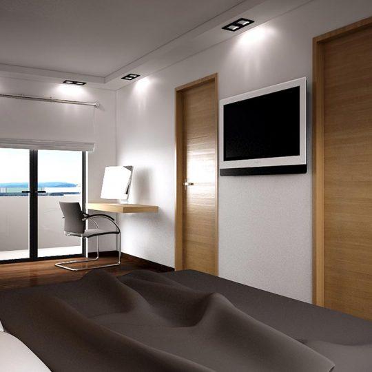 Μοντέρνα κρεβατοκάμαρα με επένδυση ξύλου και αλουμινίου