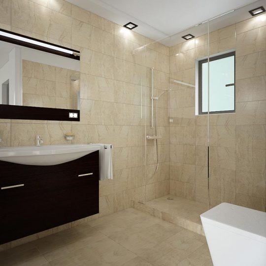 Μοντέρνο μπάνιο με συρόμενη ντουζιέρα