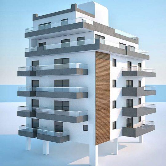 Τρισδιάστατη απεικόνιση μοντέρνας πολυκατοικίας