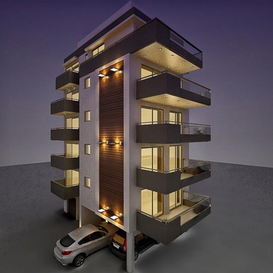 Τρισδιάστατη απεικόνιση πολυκατοικίας με εξωτερικό φωτισμό