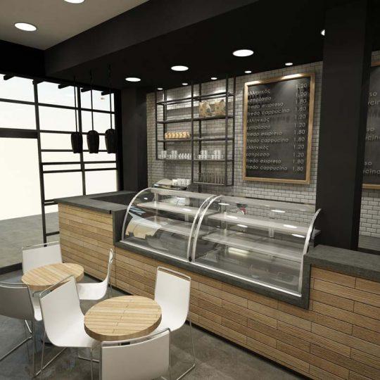 Φωτορεαλιστική απεικόνιση καταστήματος καφέ