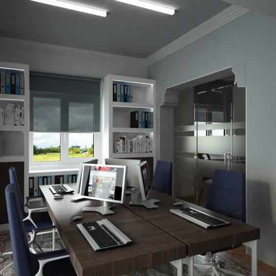 Διαμόρφωση γραφείου με γυάλινο διαχωριστικό και διάταξη γραφείων