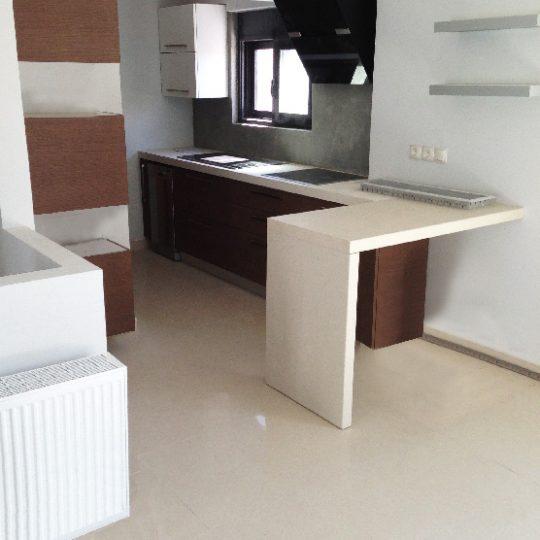 Κουζίνα διακοσμημένη με στοιχεία ξύλου και αλουμινίου