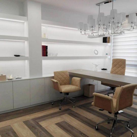 Γραφείο ιατρείου με δάπεδο με σχέδιο μαιάνδρου