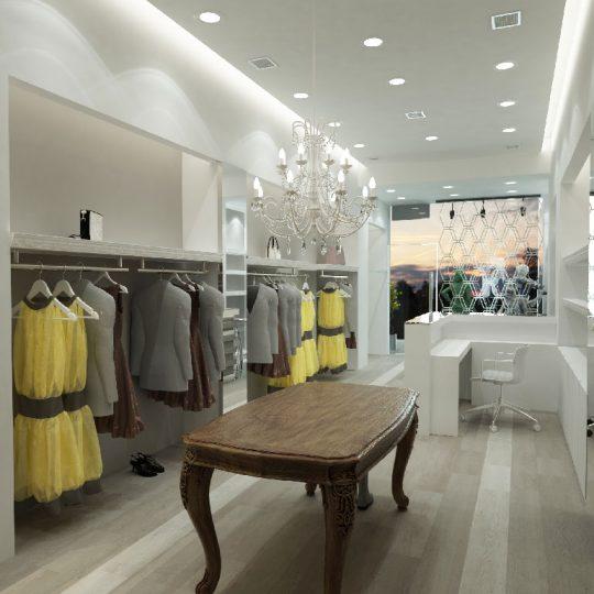 Διακόσμηση καταστήματος ρούχων με κρυφό φωτισμό και ράφια από γυψοσανίδα