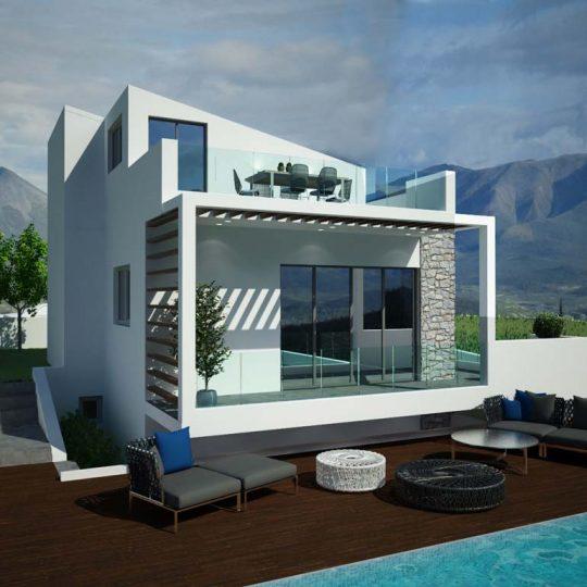 Κατοικία με πολυτελή εξωτερικό χώρο αναψυχής με deck, επένδυση πέτρας, μεταλλικό στέγαστρο σκίασης και αλουμίνια ειδικής βαφής ral σε συνδυασμό με γυαλί