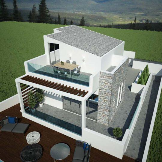 Τρισδιάστατη απεικόνιση κατοικίας με πολυτελή εξωτερικό χώρο αναψυχής