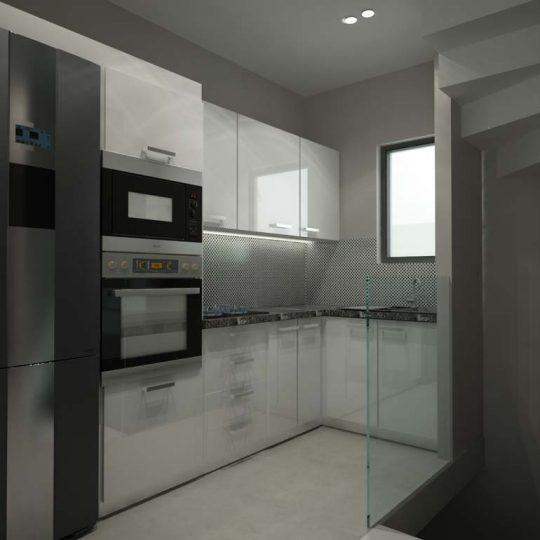 Διακόσμηση κουζίνας με στοιχεία αλουμινίου και gloss white πορτάκια