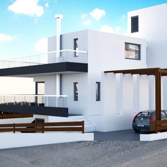 Διώροφη κατοικία με γυάλινες εξωτερικές κατασκευές
